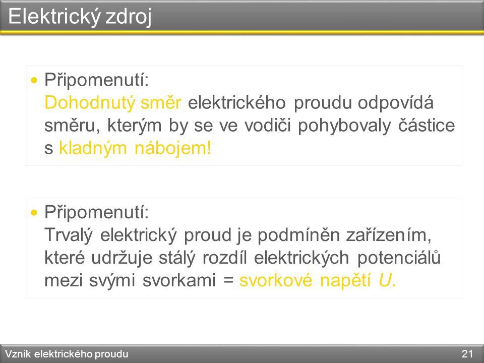 Elektrický zdroj Vznik elektrického proudu 21 Připomenutí: Dohodnutý směr elektrického proudu odpovídá směru, kterým by se ve vodiči pohybovaly částic