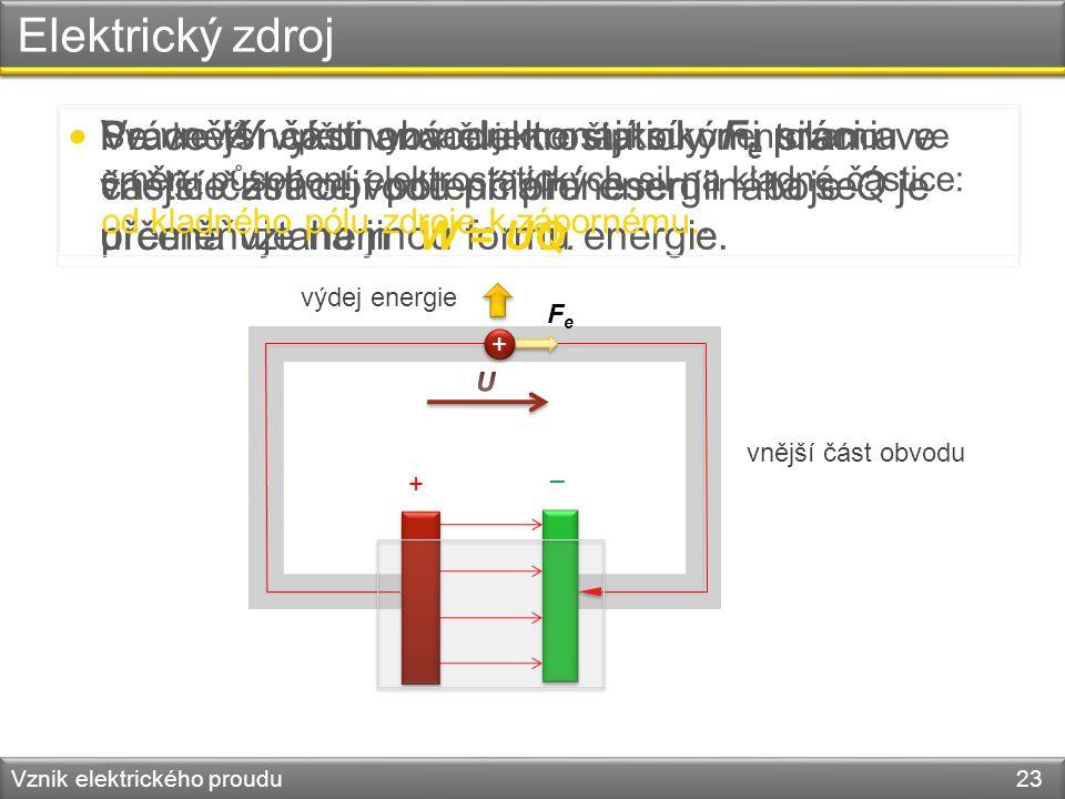 Elektrický zdroj Vznik elektrického proudu 23 – + vnější část obvodu Ve vnější části obvodu konají síly F e práci a částice ztrácejí potenciální energ