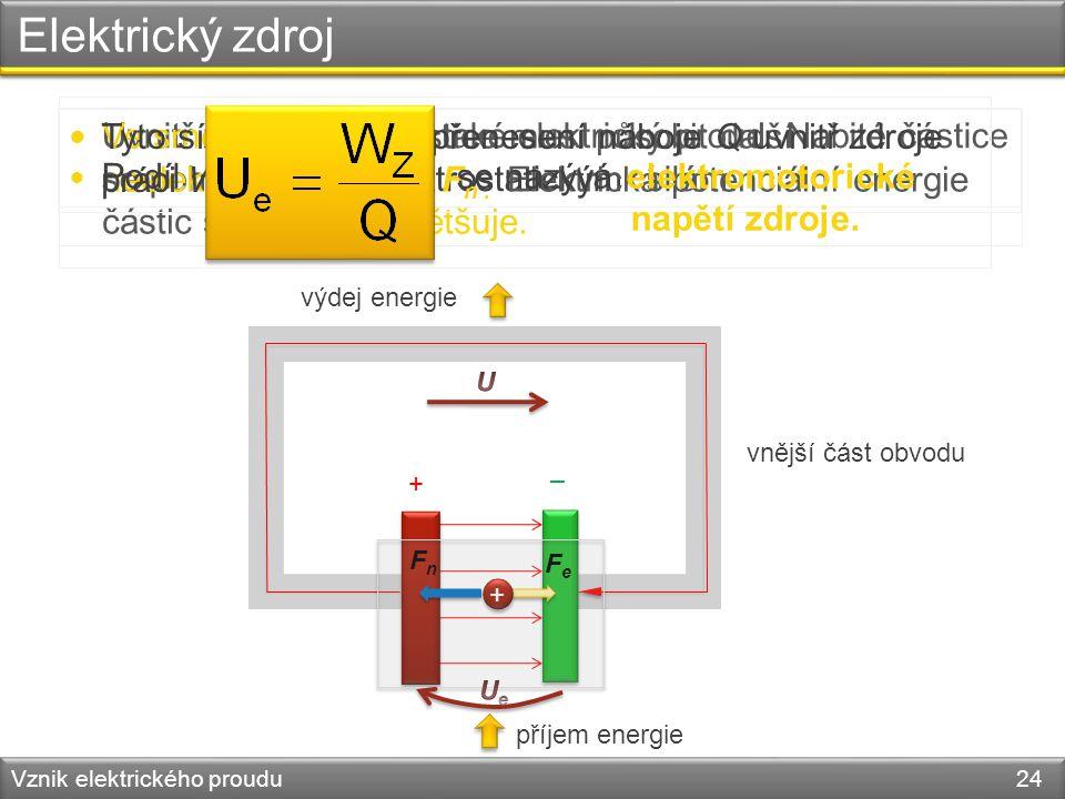 Elektrický zdroj Vznik elektrického proudu 24 – + vnější část obvodu FeFe FnFn + + výdej energie příjem energie Uvnitř zdroje probíhá také elektrický