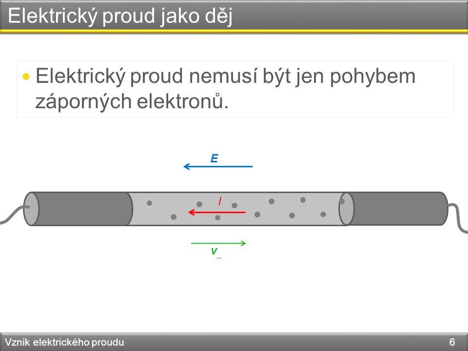 Elektrický proud jako děj Vznik elektrického proudu 6 Elektrický proud nemusí být jen pohybem záporných elektronů. I v_v_ E