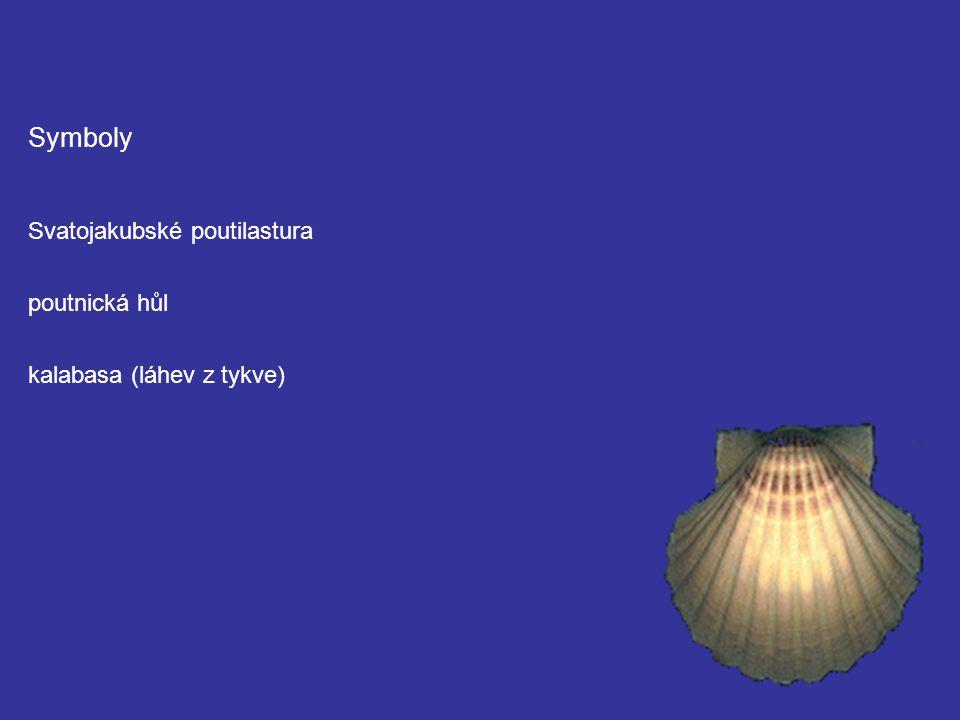 Symboly Svatojakubské poutilastura poutnická hůl kalabasa (láhev z tykve)