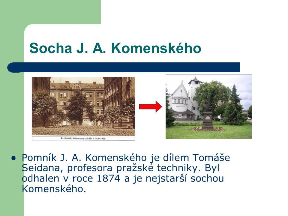 Socha J.A. Komenského Pomník J. A. Komenského je dílem Tomáše Seidana, profesora pražské techniky.