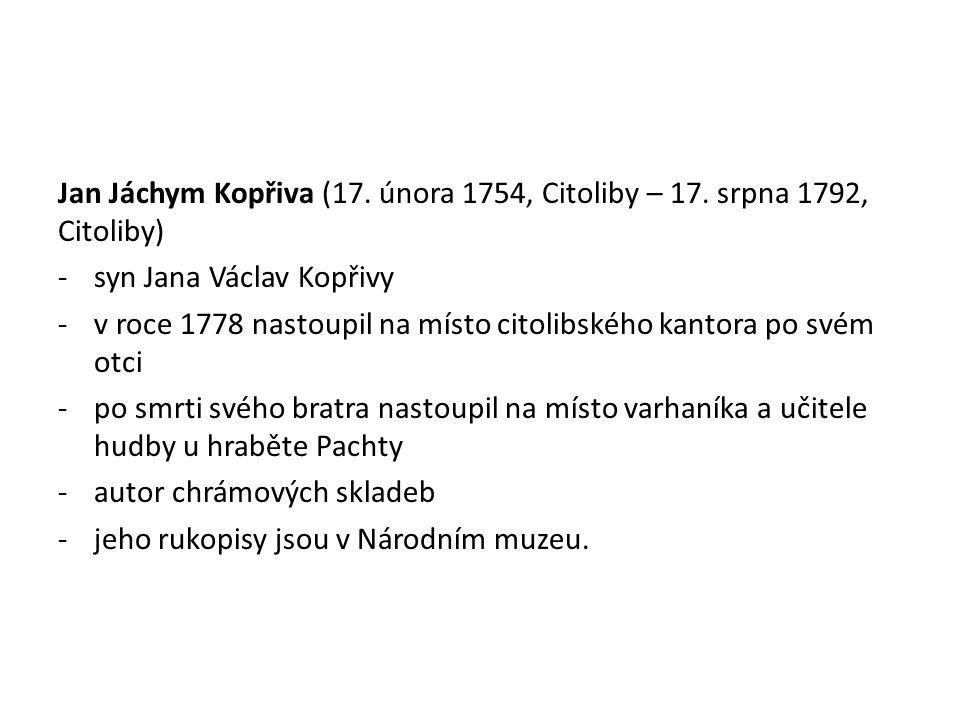 Jan Jáchym Kopřiva (17.února 1754, Citoliby – 17.