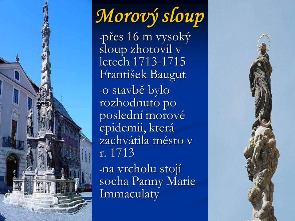 Morový sloup - přes 16 m vysoký sloup zhotovil v letech 1713-1715 František Baugut - o stavbě bylo rozhodnuto po poslední morové epidemii, která zachvátila město v r.