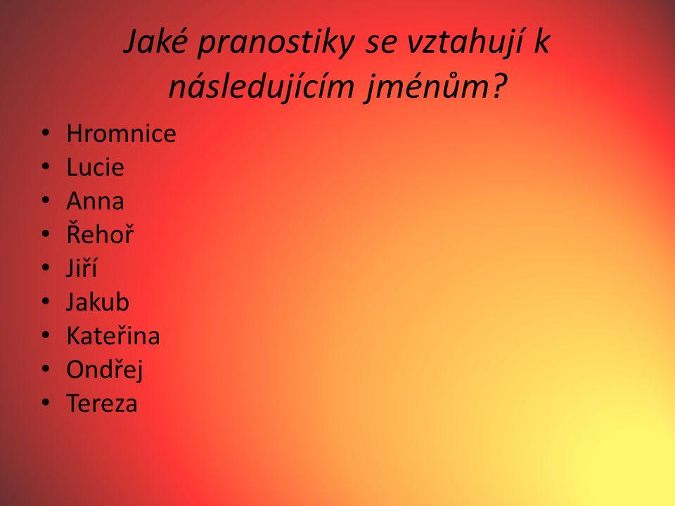 Jaké pranostiky se vztahují k následujícím jménům.