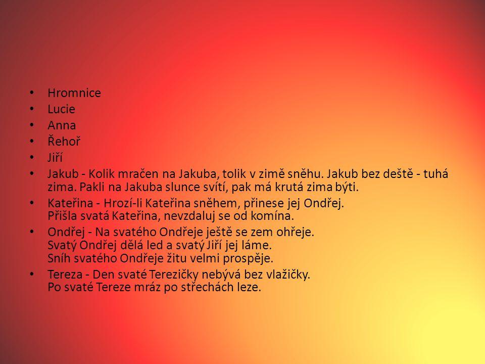 Hromnice Lucie Anna Řehoř Jiří Jakub - Kolik mračen na Jakuba, tolik v zimě sněhu. Jakub bez deště - tuhá zima. Pakli na Jakuba slunce svítí, pak má k