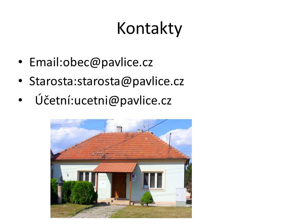 Kontakty Email:obec@pavlice.cz Starosta:starosta@pavlice.cz Účetní:ucetni@pavlice.cz