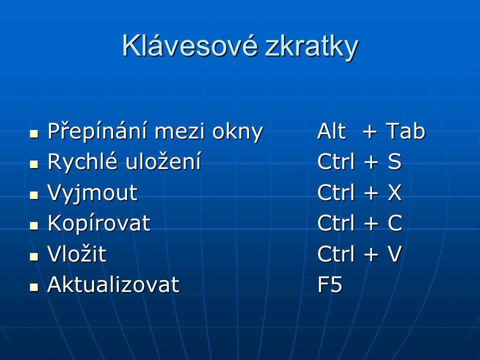Klávesové zkratky Přepínání mezi oknyAlt + Tab Přepínání mezi oknyAlt + Tab Rychlé uloženíCtrl + S Rychlé uloženíCtrl + S VyjmoutCtrl + X VyjmoutCtrl