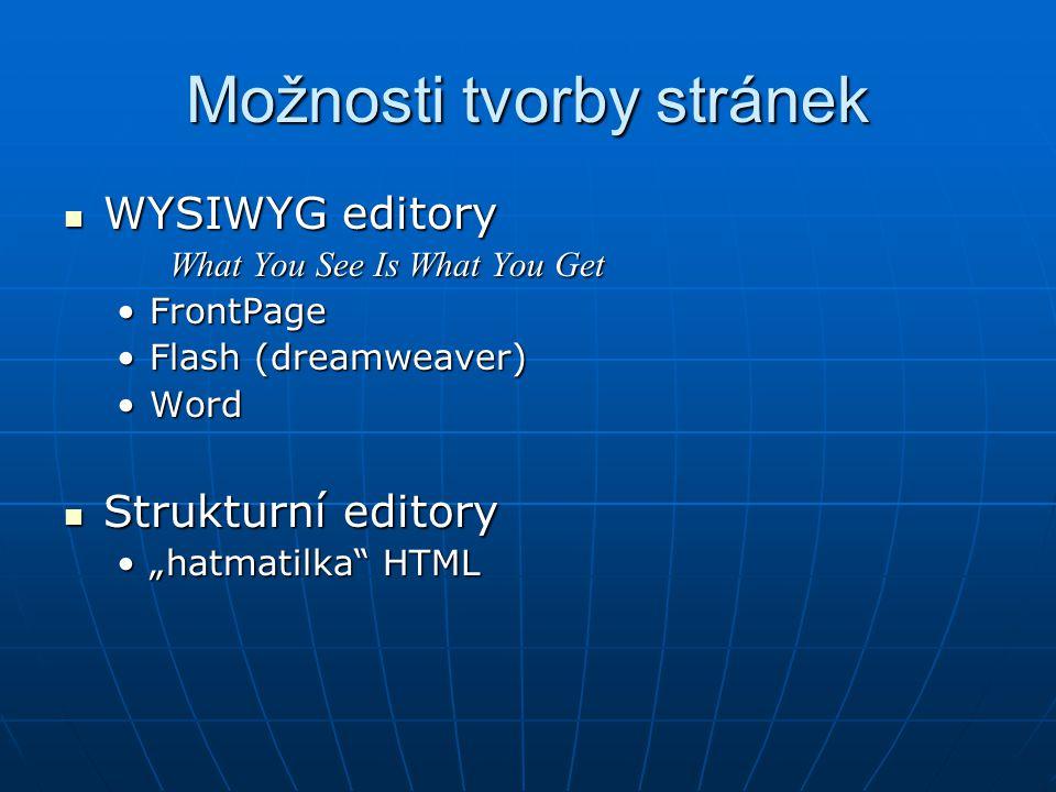 Možnosti tvorby stránek WYSIWYG editory WYSIWYG editory What You See Is What You Get FrontPageFrontPage Flash (dreamweaver)Flash (dreamweaver) WordWor