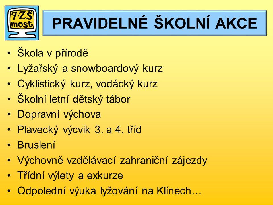 Škola v přírodě Lyžařský a snowboardový kurz Cyklistický kurz, vodácký kurz Školní letní dětský tábor Dopravní výchova Plavecký výcvik 3.