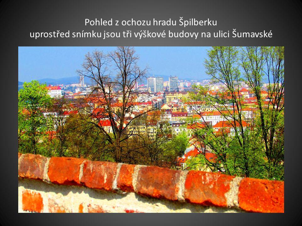 Pohled z kopce hradu Špilberku v popředí je Červený kostel na Komenského náměstí