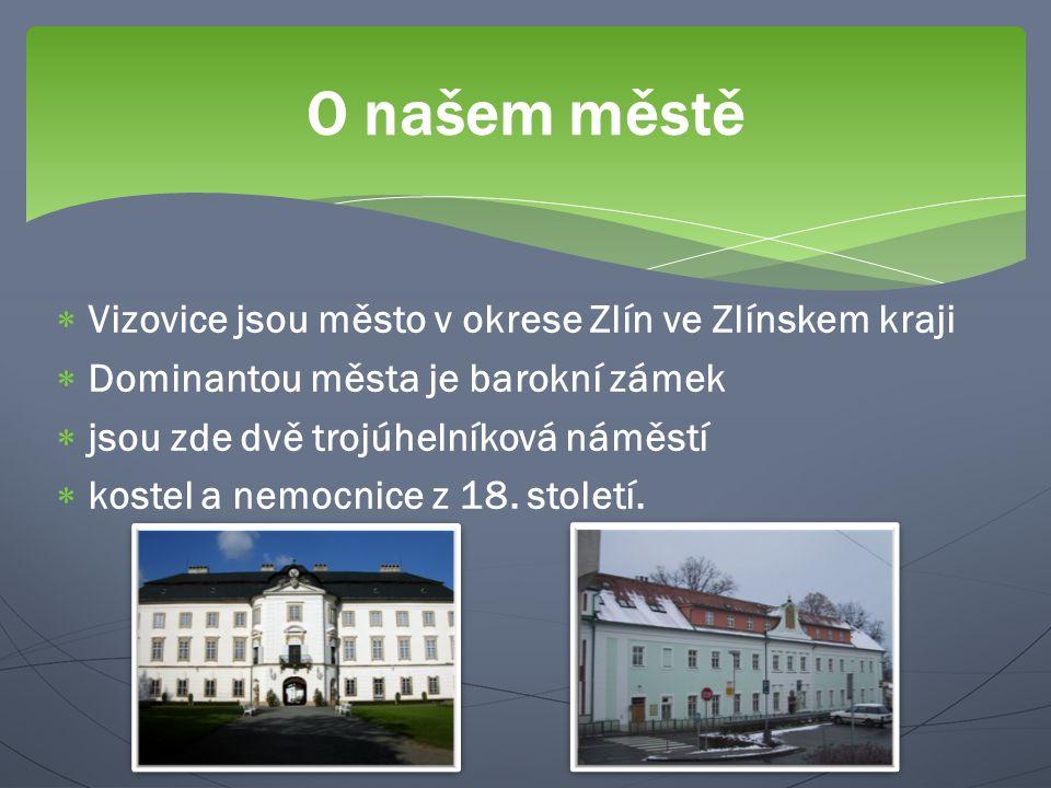  Vizovice jsou město v okrese Zlín ve Zlínskem kraji  Dominantou města je barokní zámek  jsou zde dvě trojúhelníková náměstí  kostel a nemocnice z 18.