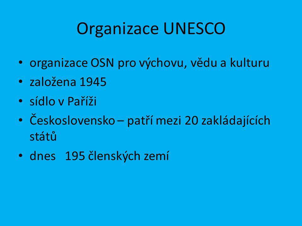 Organizace UNESCO organizace OSN pro výchovu, vědu a kulturu založena 1945 sídlo v Paříži Československo – patří mezi 20 zakládajících států dnes 195 členských zemí