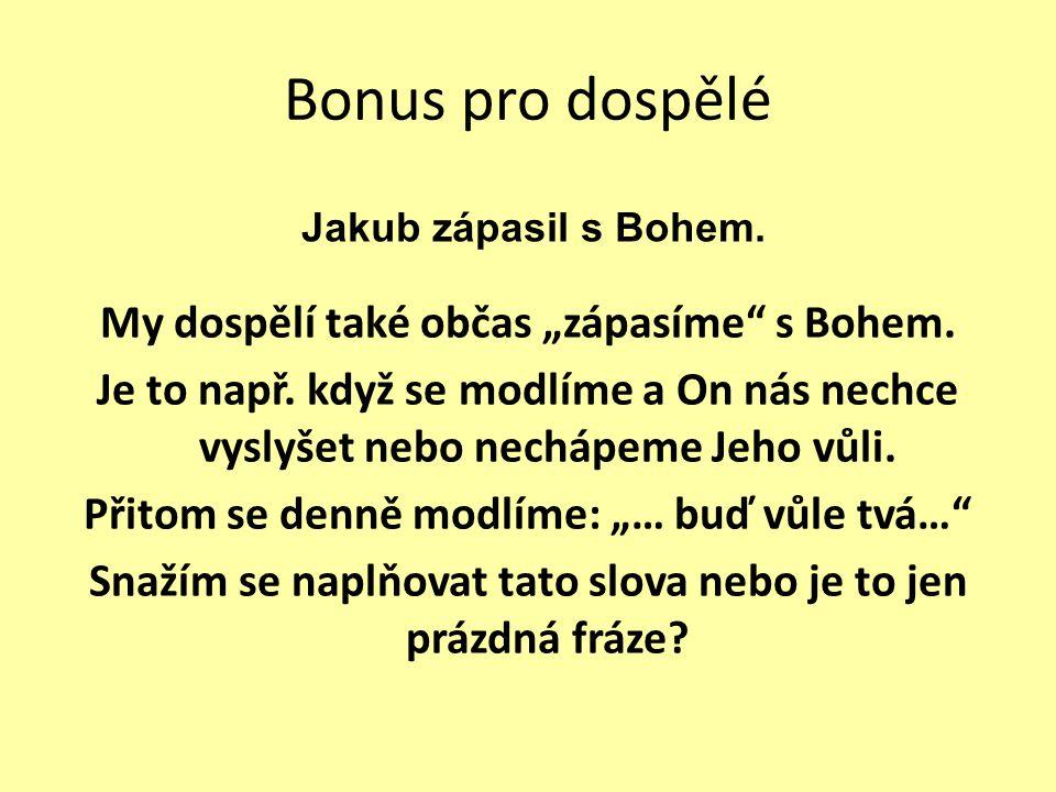 """Bonus pro dospělé My dospělí také občas """"zápasíme"""" s Bohem. Je to např. když se modlíme a On nás nechce vyslyšet nebo nechápeme Jeho vůli. Přitom se d"""