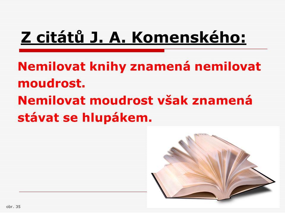Z citátů J. A. Komenského: Nemilovat knihy znamená nemilovat moudrost. Nemilovat moudrost však znamená stávat se hlupákem. obr. 35