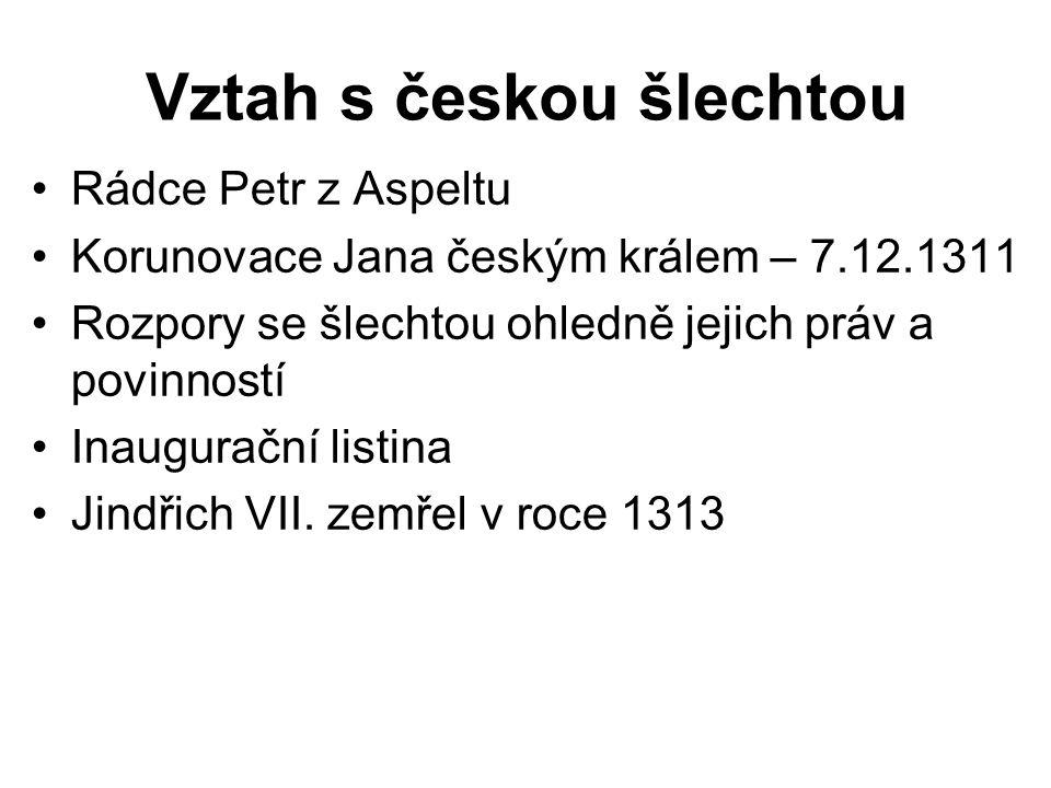 Vztah s českou šlechtou Rádce Petr z Aspeltu Korunovace Jana českým králem – 7.12.1311 Rozpory se šlechtou ohledně jejich práv a povinností Inauguračn
