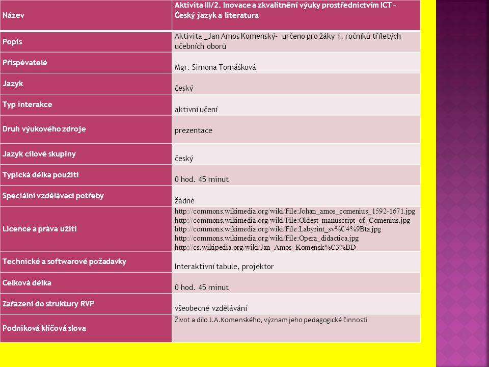 Název Aktivita III/2. Inovace a zkvalitnění výuky prostřednictvím ICT – Český jazyk a literatura Popis Aktivita _Jan Amos Komenský– určeno pro žáky 1.