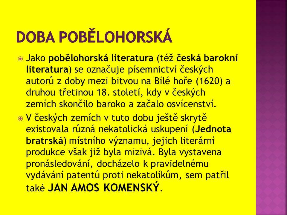  Jako pobělohorská literatura (též česká barokní literatura) se označuje písemnictví českých autorů z doby mezi bitvou na Bílé hoře (1620) a druhou t