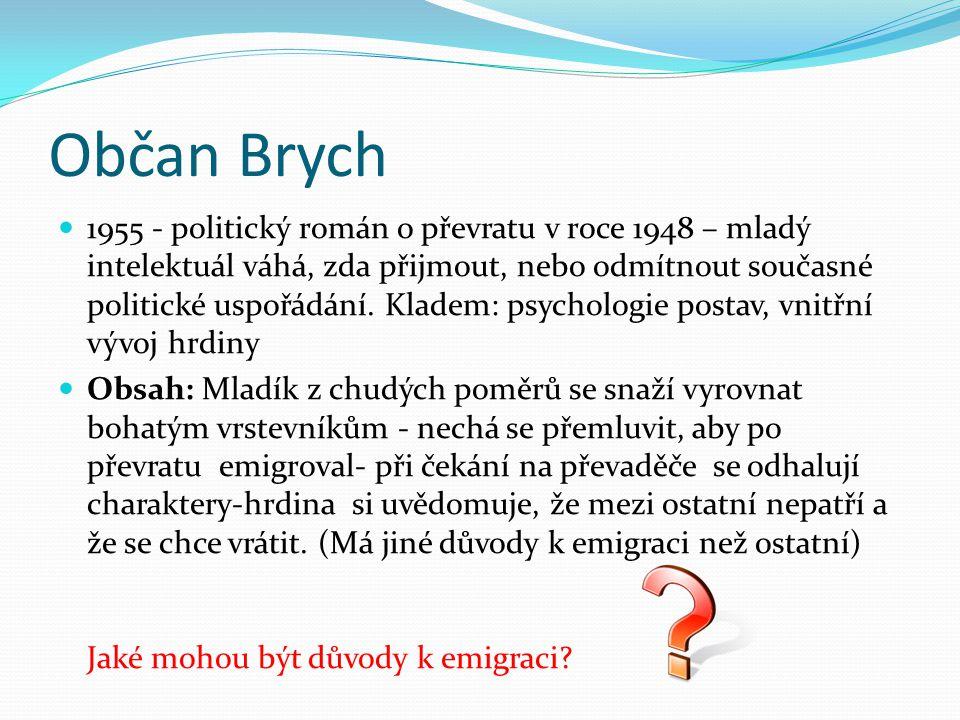 Občan Brych 1955 - politický román o převratu v roce 1948 – mladý intelektuál váhá, zda přijmout, nebo odmítnout současné politické uspořádání. Kladem