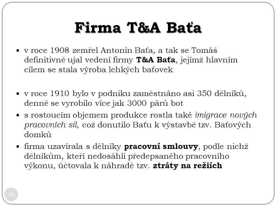 Firma T&A Baťa 14 v roce 1908 zemřel Antonín Baťa, a tak se Tomáš definitivně ujal vedení firmy T&A Baťa, jejímž hlavním cílem se stala výroba lehkých