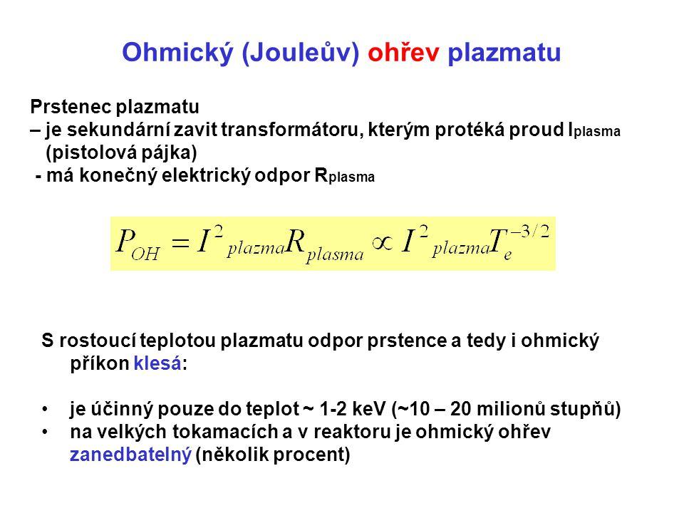 Ohmický (Jouleův) ohřev plazmatu Prstenec plazmatu – je sekundární zavit transformátoru, kterým protéká proud I plasma (pistolová pájka) - má konečný