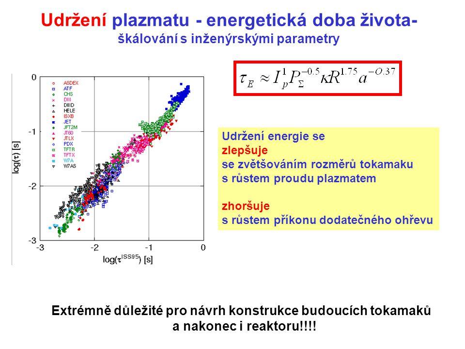 Udržení plazmatu - energetická doba života- škálování s inženýrskými parametry Udržení energie se zlepšuje se zvětšováním rozměrů tokamaku s růstem pr