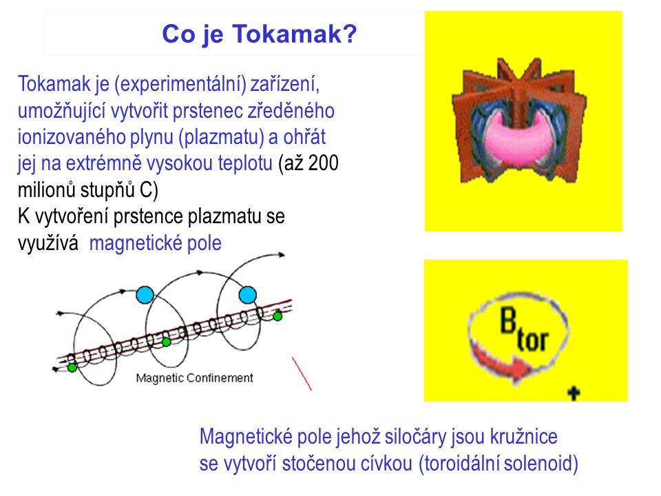 Co je Tokamak? Tokamak je (experimentální) zařízení, umožňující vytvořit prstenec zředěného ionizovaného plynu (plazmatu) a ohřát jej na extrémně vyso