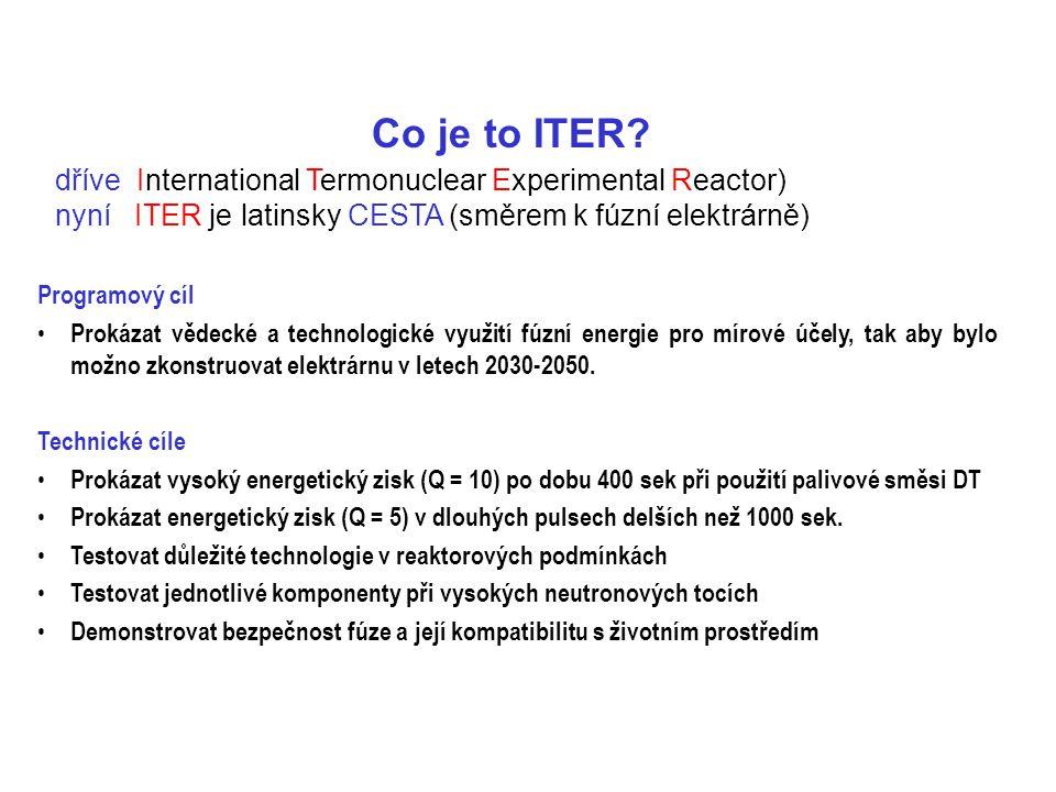 Co je to ITER? dříve International Termonuclear Experimental Reactor) nyní ITER je latinsky CESTA (směrem k fúzní elektrárně) Programový cíl Prokázat