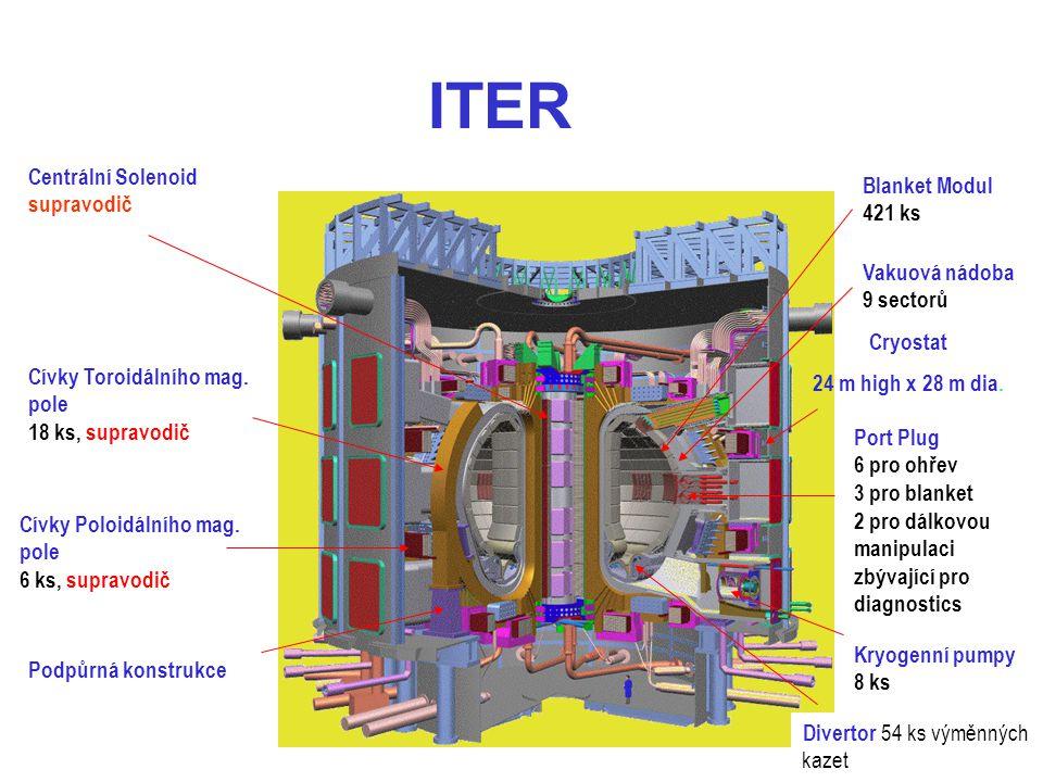 ITER Divertor 54 ks výměnných kazet Centrální Solenoid supravodič Cívky Toroidálního mag. pole 18 ks, supravodič Cívky Poloidálního mag. pole 6 ks, su