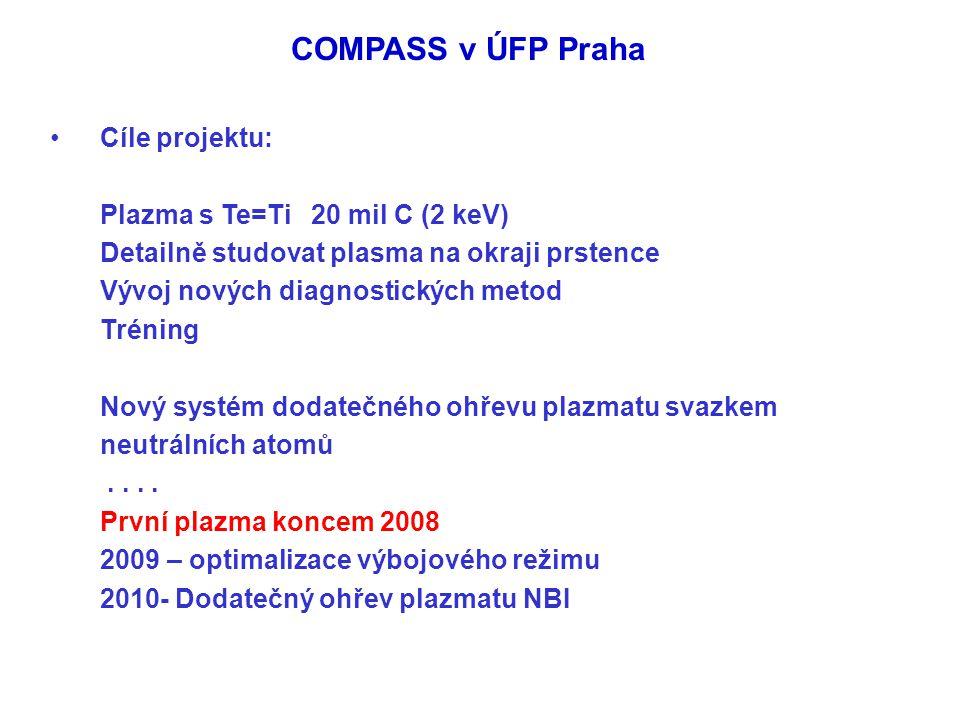 COMPASS v ÚFP Praha Cíle projektu: Plazma s Te=Ti 20 mil C (2 keV) Detailně studovat plasma na okraji prstence Vývoj nových diagnostických metod Tréni