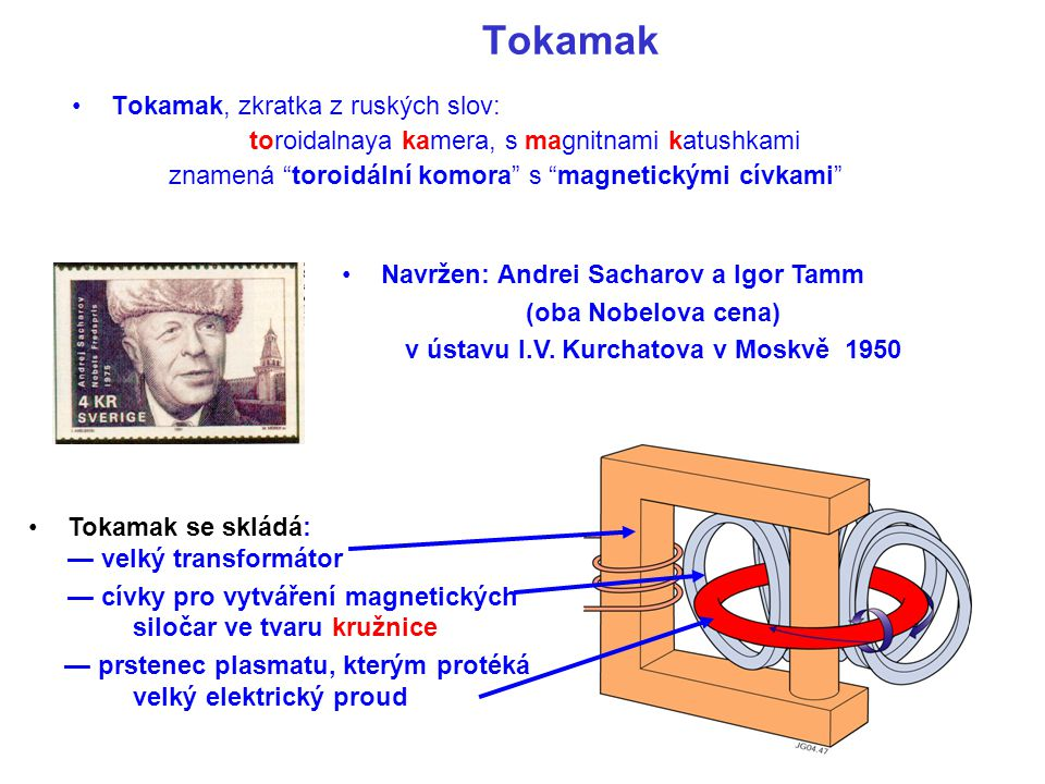 Cívky toroidálního magnetického pole Tokamak - princip činnosti Prstenec horkého plazmatu Udržován magnetickým polem toroidálního solenoidu Elektrický proud prstencem je vytvářen induktivně - sekundární vinutí transformátoru Jádro transfornítoru Prstenec plazmatu Prstenec plazmatu o elektrickém odporu R je navíc ohříván průchodem elektrického proudu I plasma.