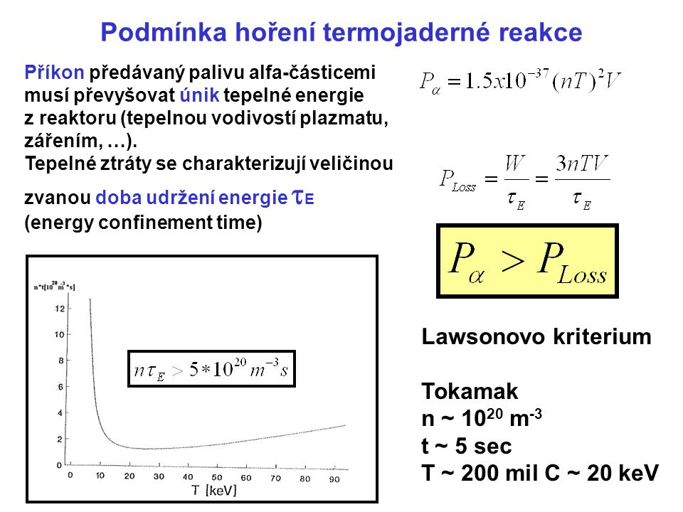 Podmínka hoření termojaderné reakce Příkon předávaný palivu alfa-částicemi musí převyšovat únik tepelné energie z reaktoru (tepelnou vodivostí plazmat