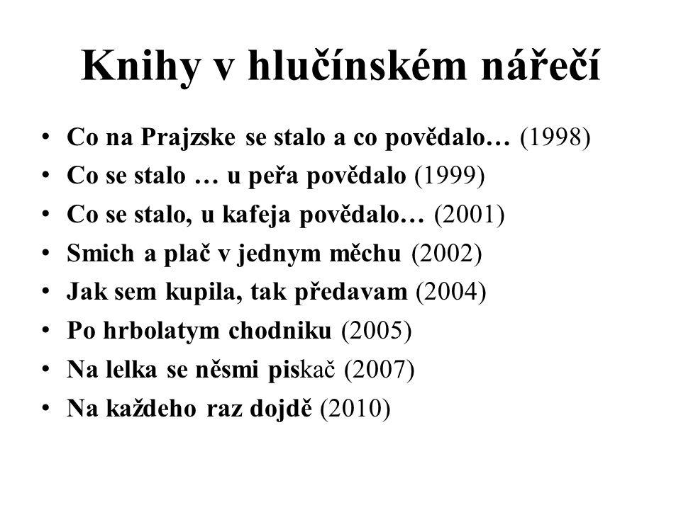 Knihy v hlučínském nářečí Co na Prajzske se stalo a co povědalo… (1998) Co se stalo … u peřa povědalo (1999) Co se stalo, u kafeja povědalo… (2001) Smich a plač v jednym měchu (2002) Jak sem kupila, tak předavam (2004) Po hrbolatym chodniku (2005) Na lelka se něsmi piskač (2007) Na každeho raz dojdě (2010)