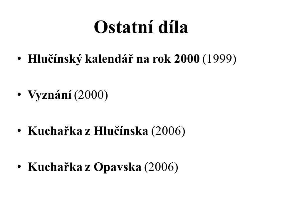 Ostatní díla Hlučínský kalendář na rok 2000 (1999) Vyznání (2000) Kuchařka z Hlučínska (2006) Kuchařka z Opavska (2006)