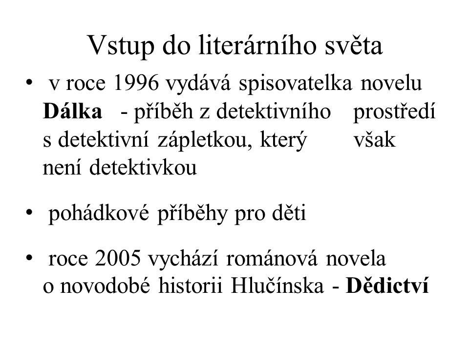 Vstup do literárního světa v roce 1996 vydává spisovatelka novelu Dálka - příběh z detektivního prostředí s detektivní zápletkou, který však není detektivkou pohádkové příběhy pro děti roce 2005 vychází románová novela o novodobé historii Hlučínska - Dědictví