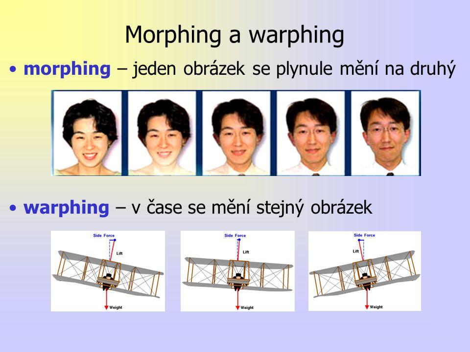 Morphing a warphing morphing – jeden obrázek se plynule mění na druhý warphing – v čase se mění stejný obrázek