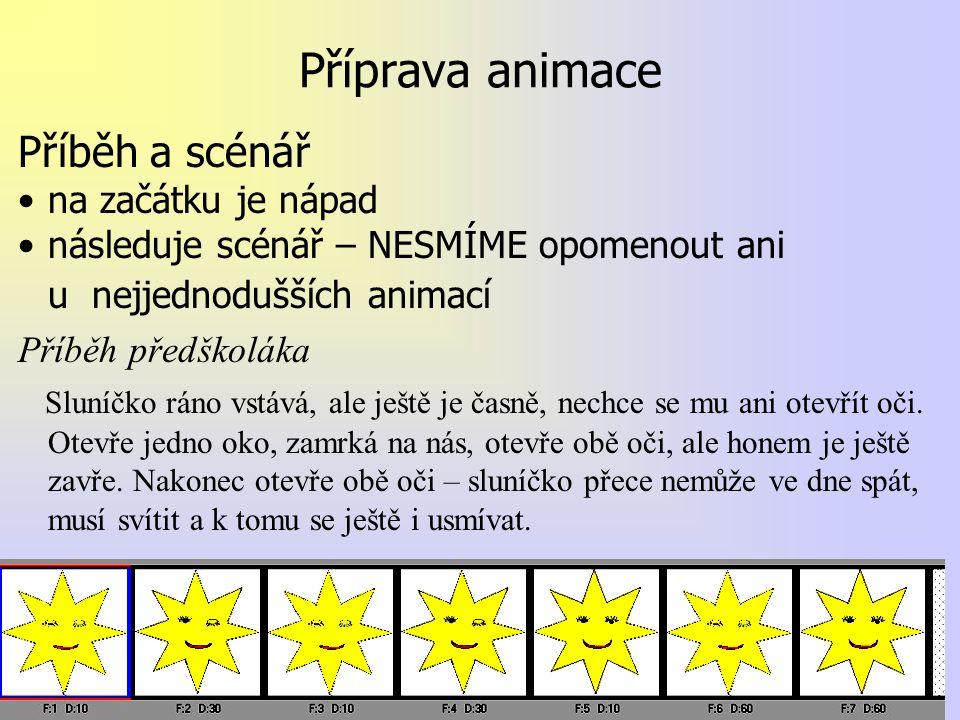 Příprava animace Příběh a scénář na začátku je nápad následuje scénář – NESMÍME opomenout ani u nejjednodušších animací Příběh předškoláka Sluníčko rá