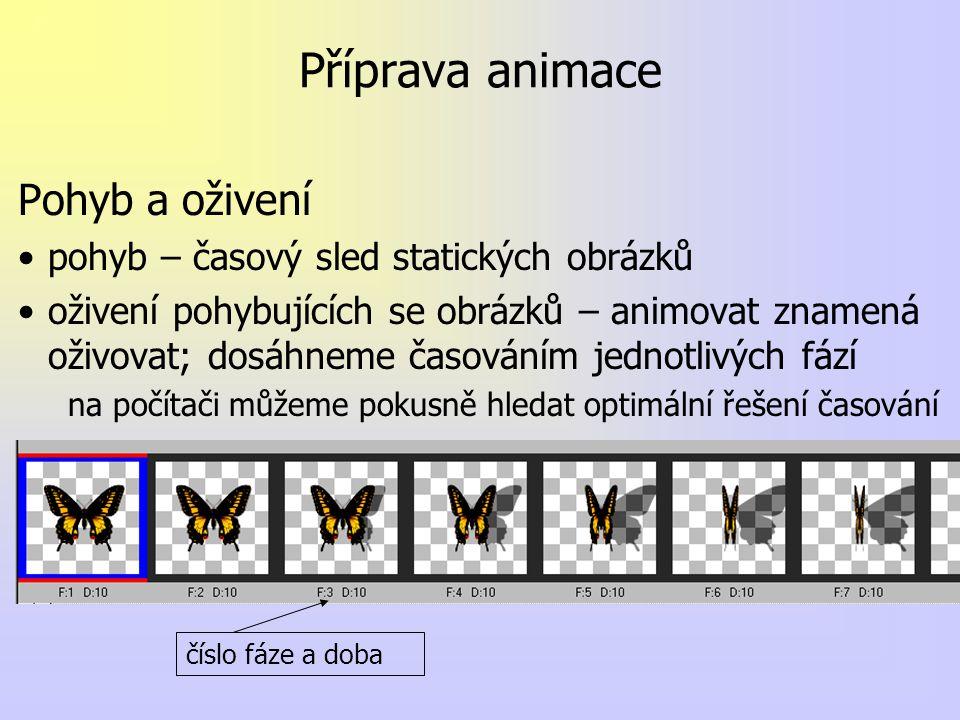 Příprava animace Pohyb a oživení pohyb – časový sled statických obrázků oživení pohybujících se obrázků – animovat znamená oživovat; dosáhneme časováním jednotlivých fází na počítači můžeme pokusně hledat optimální řešení časování číslo fáze a doba