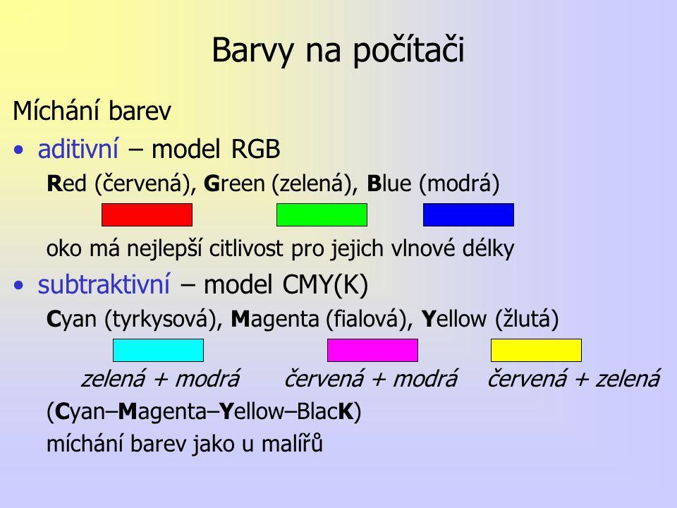 Barvy na počítači Míchání barev aditivní – model RGB Red (červená), Green (zelená), Blue (modrá) oko má nejlepší citlivost pro jejich vlnové délky subtraktivní – model CMY(K) Cyan (tyrkysová), Magenta (fialová), Yellow (žlutá) zelená + modráčervená + modráčervená + zelená (Cyan–Magenta–Yellow–BlacK) míchání barev jako u malířů