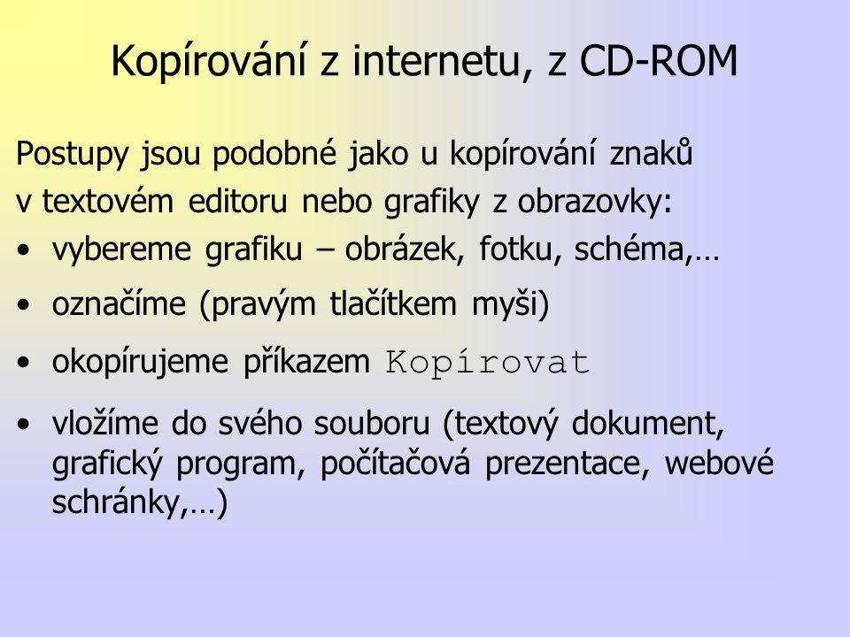Kopírování z internetu, z CD-ROM Postupy jsou podobné jako u kopírování znaků v textovém editoru nebo grafiky z obrazovky: vybereme grafiku – obrázek, fotku, schéma,… označíme (pravým tlačítkem myši) okopírujeme příkazem Kopírovat vložíme do svého souboru (textový dokument, grafický program, počítačová prezentace, webové schránky,…)