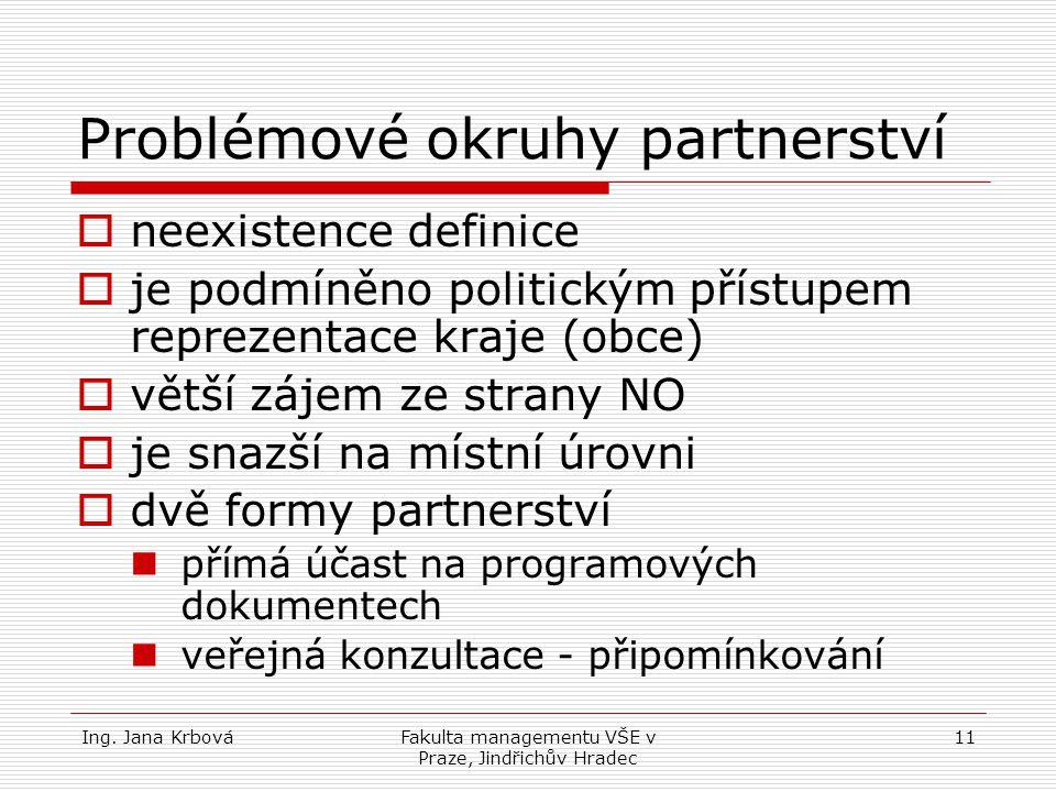 Ing. Jana KrbováFakulta managementu VŠE v Praze, Jindřichův Hradec 11 Problémové okruhy partnerství nneexistence definice jje podmíněno politickým