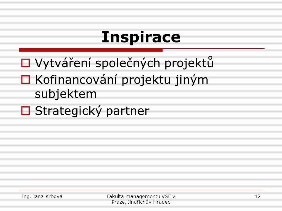 Ing. Jana KrbováFakulta managementu VŠE v Praze, Jindřichův Hradec 12 Inspirace VVytváření společných projektů KKofinancování projektu jiným subje