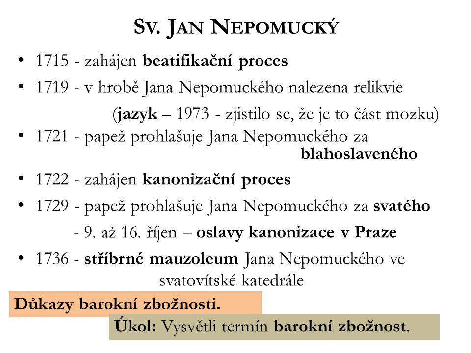 S V. J AN N EPOMUCKÝ 1715 - zahájen beatifikační proces 1719 - v hrobě Jana Nepomuckého nalezena relikvie (jazyk – 1973 - zjistilo se, že je to část m