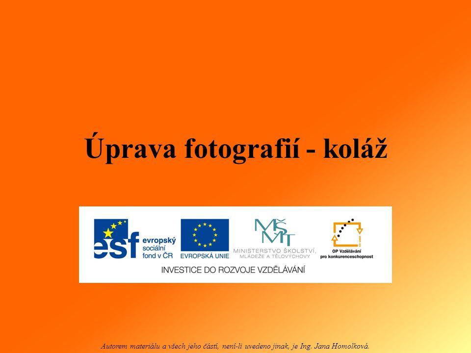 Úprava fotografií - koláž Autorem materiálu a všech jeho částí, není-li uvedeno jinak, je Ing. Jana Homolková.