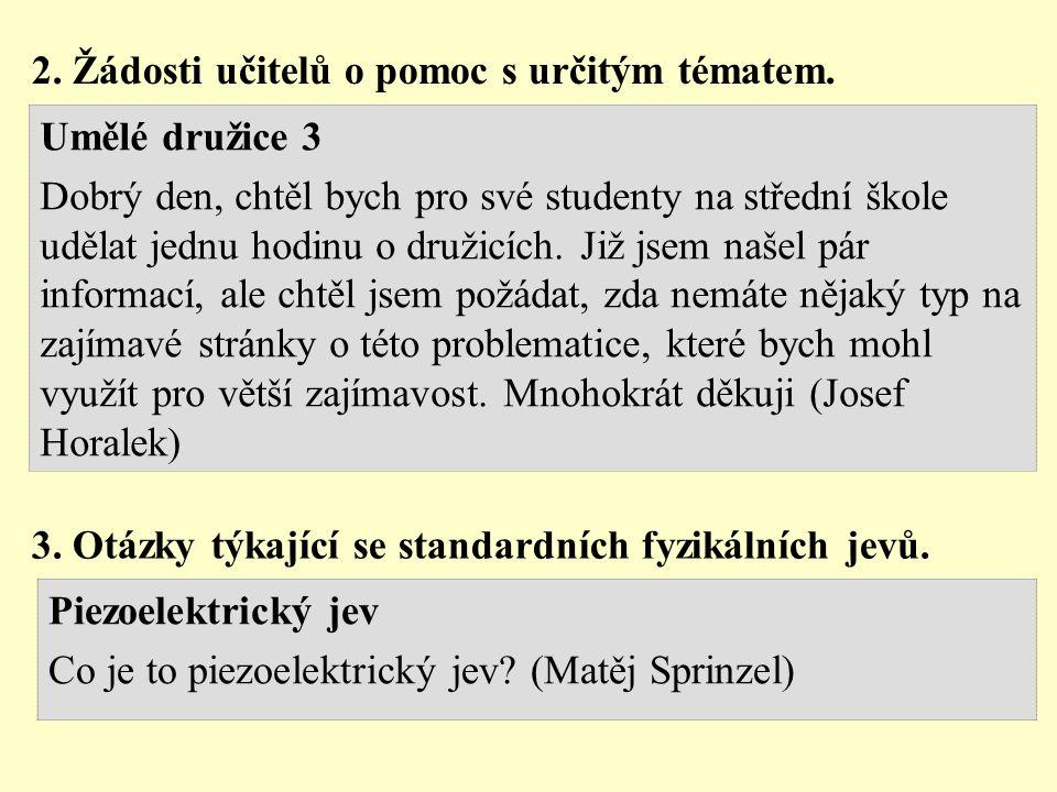 2.Žádosti učitelů o pomoc s určitým tématem.