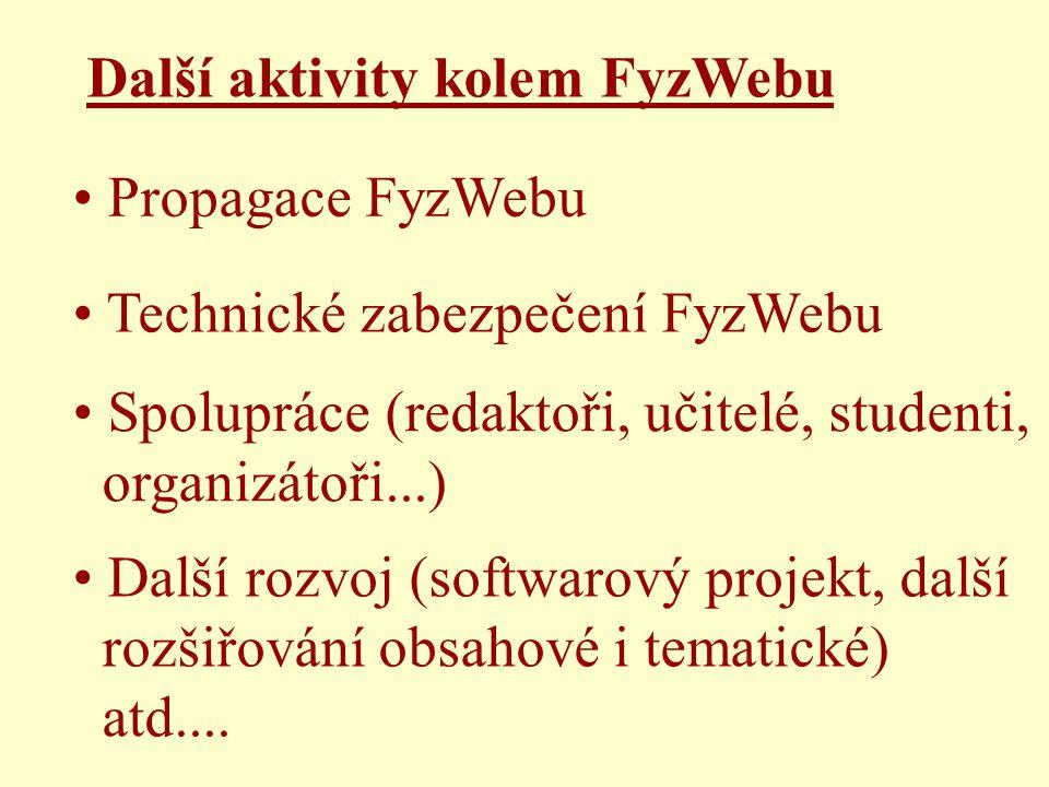 Technické zabezpečení FyzWebu Propagace FyzWebu Spolupráce (redaktoři, učitelé, studenti, organizátoři...) Další rozvoj (softwarový projekt, další rozšiřování obsahové i tematické) atd....