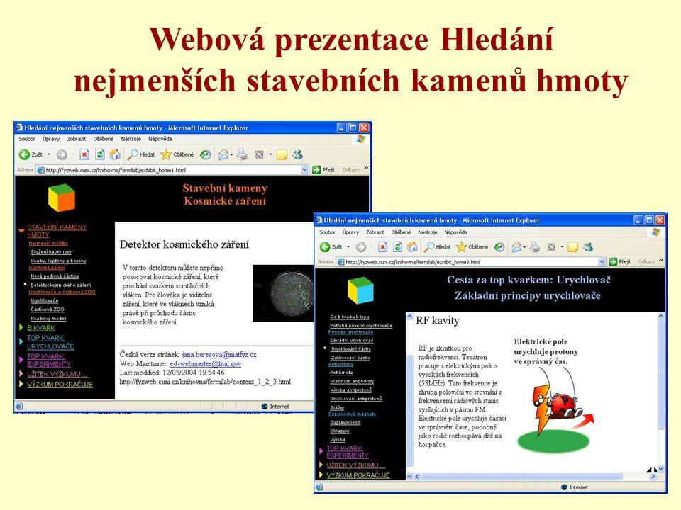 Webová prezentace Hledání nejmenších stavebních kamenů hmoty