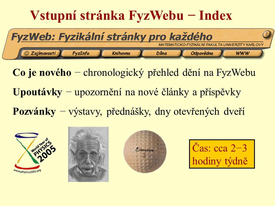 Vstupní stránka FyzWebu − Index Co je nového − chronologický přehled dění na FyzWebu Upoutávky − upozornění na nové články a příspěvky Pozvánky − výstavy, přednášky, dny otevřených dveří Čas: cca 2−3 hodiny týdně