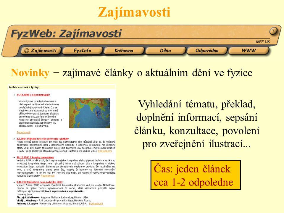 Odpovědna interaktivní část FyzWebu více než 700 odpovědí rozdělených podle témat fulltextové vyhledávání v archivu