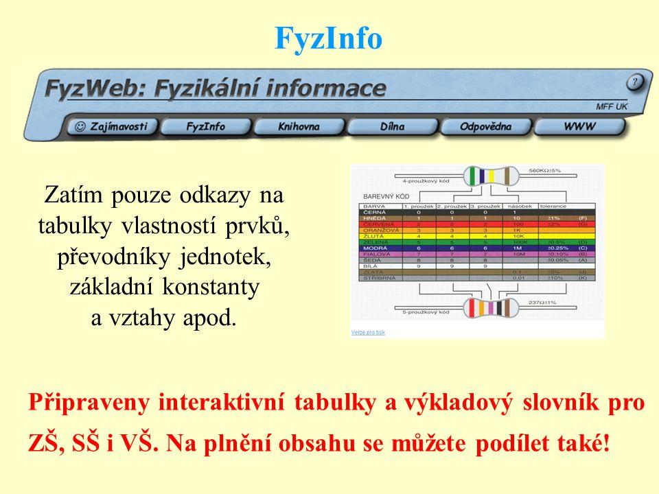 FyzInfo Zatím pouze odkazy na tabulky vlastností prvků, převodníky jednotek, základní konstanty a vztahy apod.